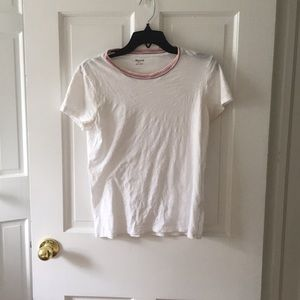 Madewell White Tee with stripe neckline